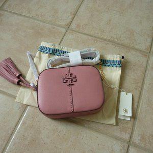 Tory Burch 'McGraw' Leather Logo Camera Bag (Pink)